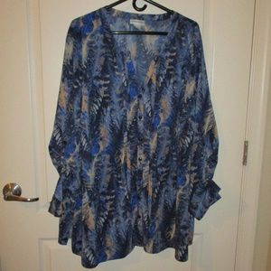 Catherines 3X blouse button front long/tab sleeves